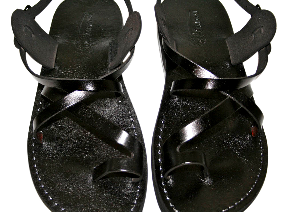 7982034ef Black Roxy Leather Sandals for Men   Women - Home of Judaica
